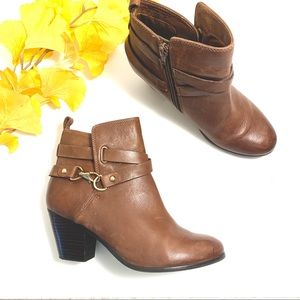 ALDO Brown Leather Stacked Heel Booties Size 7